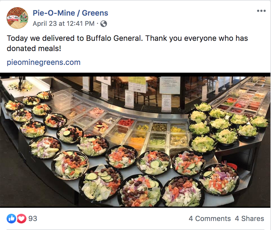 Pie O Mine Greens Donates